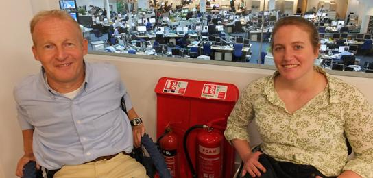 David and Jen from Motivation overlooking the Telegraph newsroom (and some peskily placed fire extinguishers...)